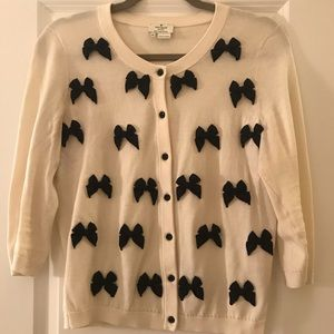 Kate Spade Black and Ivory Bow Sweater
